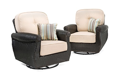 La-Z-Boy Outdoor Breckenridge Resin Wicker Swivel Rocker 2 Piece Patio Furniture Set (Natural Tan) With All Weather Sunbrella Cushions - Swivel Rocking Set