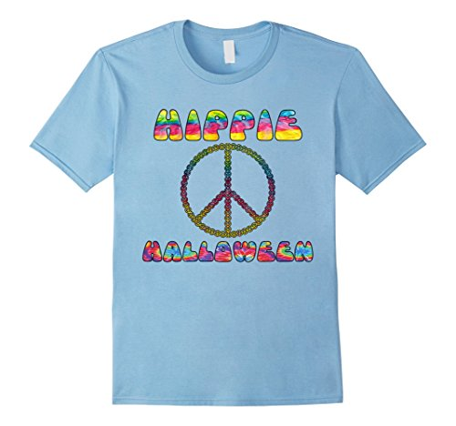 Mens Hippie Halloween 1970s Tie Dye Peace Sign T-Shirt Costume Medium Baby Blue