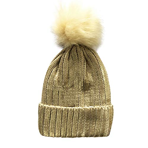 Pom Beanie Hat with Warm Fleece Lined, Thick Slouchy Snow Knit Ski Cap (Champagne Gold) ()
