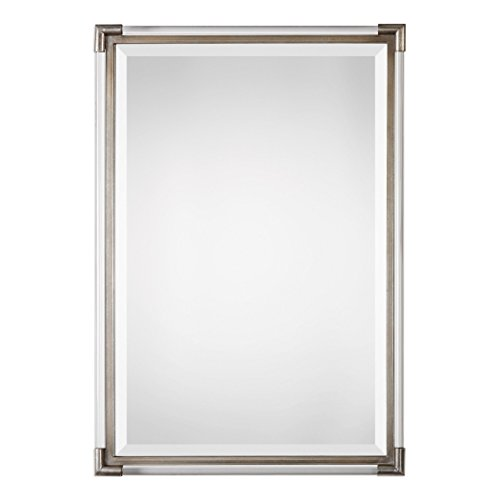 Contemporary Art Deco Clear Frame Wall Mirror | Vanity Frameless Silver