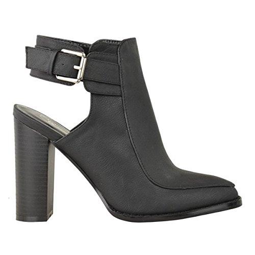 Miss Image UK - Botas Chelsea mujer - Black Faux Leather / Buckle