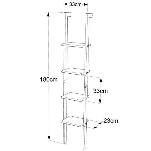 Estanter a moderna escalera de madera con cuatro plantas de pie estante estante pared - Amazon estanterias bano ...