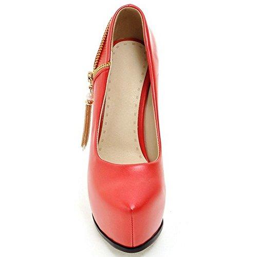 Plattform Heels Pumps Rot Stiletto Frauen High Slip On Hochzeit LongFengMa Schuhe qxFSwX