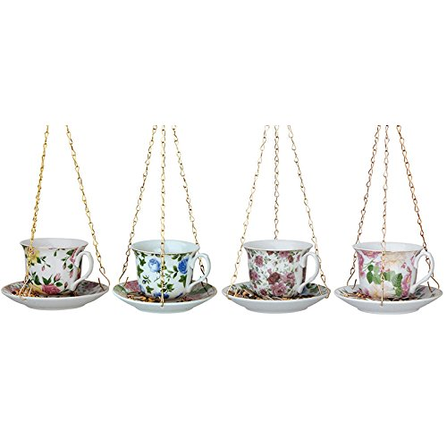Esschert Design FB240 Hanging Ceramic Tea Cup with Saucer Feeder