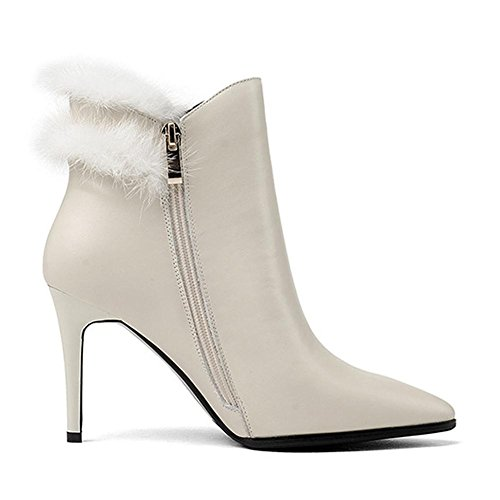 wdjjjnnnv Women Thin High Heels Boots Short Leather Plush Casual Side Zipper Ankle Shoes WHITE-34 eiy9nE2h0o