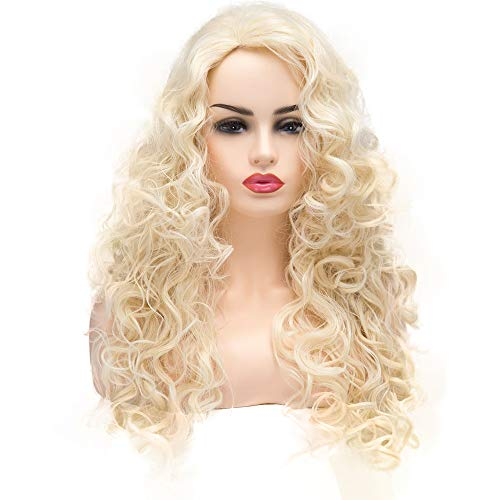BESTUNG Long Blonde Hair Curly Wavy Full Head Halloween Wigs for Women Cosplay Costume Party Hairpiece (613#-Pale Blond)]()