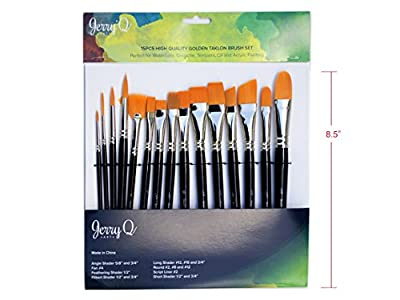 Jerry Q Art 15 pcs High Quality Golden Taklon Brush Set for Acrylic, Tempera, Watercolor, Oil Painting, Nickel Ferrule with Violet Short Wooden Handles JQ151
