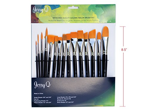 Jerry Q Art 15 pcs High Quality Golden Taklon Brush Set for Acrylic, Tempera, Watercolor, Oil Painting, Nickel Ferrule with Violet Short Wooden Handles JQ151 (Flat Shader Golden Taklon Brush)