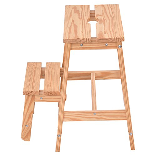 Sturdy Net Trellis (Solid Wood Step Stool Folding Ladder Bench Seat Kitchen Chair Furniture New 2 Tier)