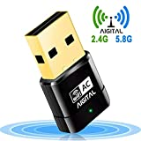 Aigital USB WiFi Adapter, 600Mbps Mini Wireless Network Adapter Card Dual Band 2.4G/5.8G WLAN Dongle for Laptop/Desktop Computer,Support Win XP/Vista/7/8/10,Mac OS X