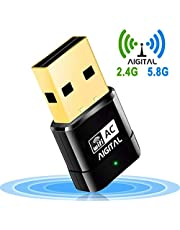 Aigital WiFi Adapter USB 600Mbps, Wifi Dongle 802.11ac Dual Band Wireless Network Adapter 5GHz Mini Soft AP WPS for PC Desktop Laptop Tablet Support Windows 10/8/7/Vista/XP/2000, Mac OS 10.4-10.11