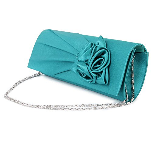 hellodd Mujer Noche Bolso De Mano Bolsa de embrague con Correa para el hombro satén Rose turquesa