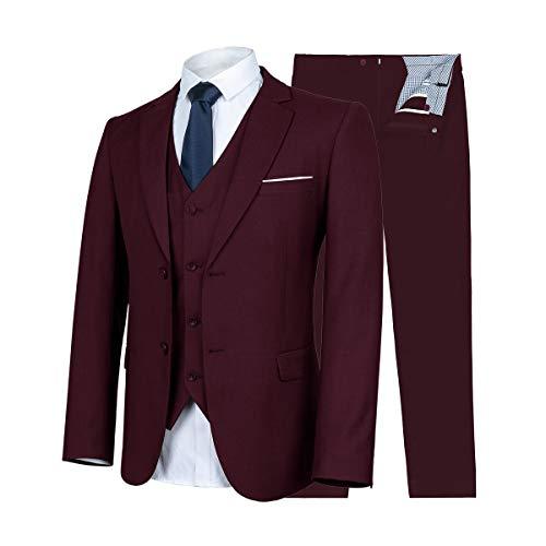 WULFUL Men's Suit Slim Fit 3 Piece ()