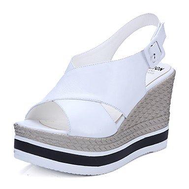 LvYuan Mujer-Tacón Cuña-Otro-Sandalias-Oficina y Trabajo Vestido Informal-Cuero-Negro Blanco White