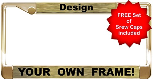 Custom Personalized Gold Metal Car License Plate Frame with Free caps - Gold/Black