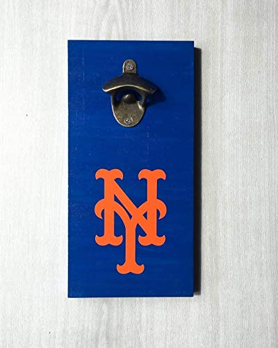 New York Mets Bottle Opener | NY Mets Baseball Team Bar Sign | Wall Mounted Opener -by LEADING EDGE DESIGNS