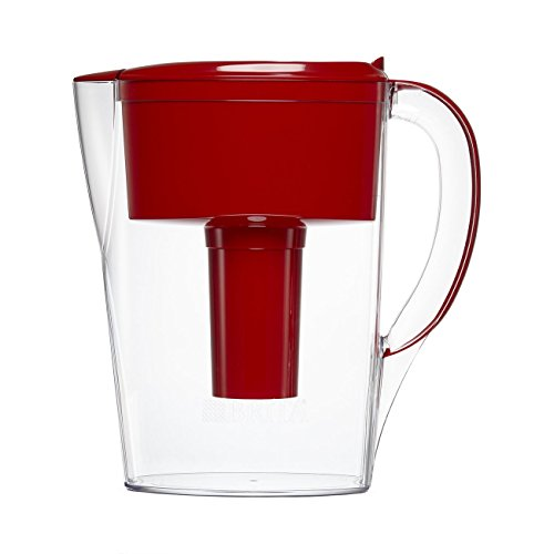 Brita Small 6 Cup Space Saver Water Pitcher with Filter - BPA Free - Red