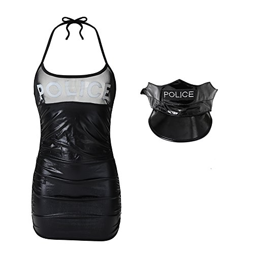 EROMATE Sexy Costume for Women Black Mini Police Lingerie Uniform Dress Backless]()