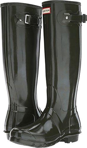 Hunter Women's Original Tall Gloss Rain Boots Dark Olive 7 M US