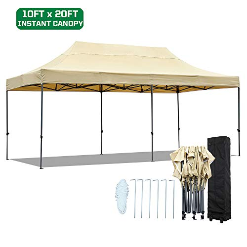 kdgarden 10 x 20 Ft. Straight Leg Pop Up Canopy Tent with Roller Bag, Portable Commercial Instant Canopy Shelter with Heavy Duty Steel Frame and Waterproof 420 Top, Khaki