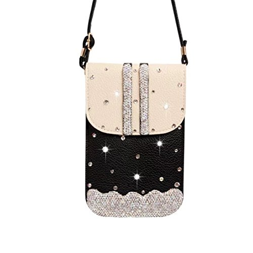 Price comparison product image MEIQING Luxury Crystal PU Leather Mini Crossbody Single Shoulder Bag Cellphone Pouch (Black)