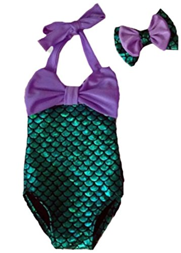 Baby Girls Little Mermaid Bow Squama Bikini Set Swimwear Swimsuit Bathing Suit (2-3 Years, Purple)