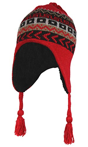 Peruvian Beanie Hat (Red Wool Knit Peruvian Beanie Hat w/ Sherpa Fleece Lining – Fair Isle Ski Cap)