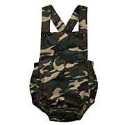Infant Baby Boy Girl Romper Coveralls Camouflage Bodysuit Jumpsuit Sleeveless Super Cute Outfits Set (0-3M)