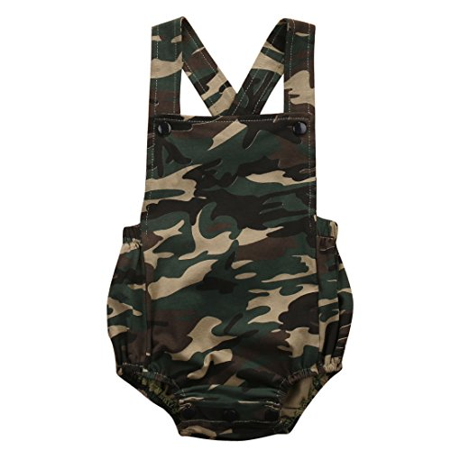 Infant Baby Boy Girl Romper Coveralls Camouflage Bodysuit Jumpsuit Sleeveless Super Cute Outfits Set (3-6M) - Le Top Boys Coverall