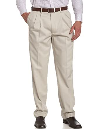 Savane Men's Big & Tall Wrinkle Free Pleated Twill Pant, Alabaster, 36W 36L