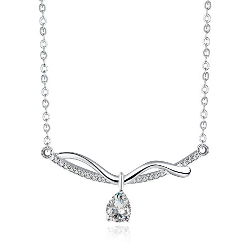 Womens Fashion Tear Drop Pendant Necklace Inlay Cubic Zirconia Silver Plated - Matthew L. Garcia