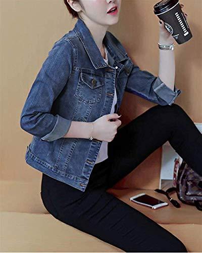Battercake Lunga Moda Cappotto Jeans Ricamo Donne Tempo Donna Casuale Eleganti Blau Manica Slim Digitale Primaverile Outerwear Giacche Libero Bavero Corto Fit Autunno Vintage Jacket HrxzHRw