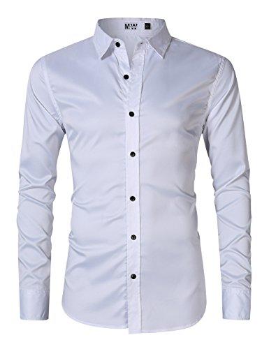 MrWonder Men's Bamboo Fiber Dress Shirt Elastic Casual Slim Fit Solid Long Sleeve Button Down Shirts White L