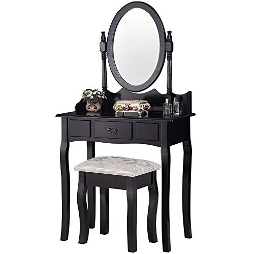Mecor Makeup Vanity Table Set/Oval Mirror,Wood Dressing Table w/Drawer Storage&Cushioned Stool for Kids Girls Women Bedroom Furniture - Vanity Stand