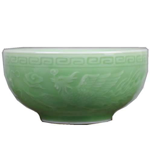 Dragon Phoenix Bowl - Chinese Celadon 4.5Inch Rice Bowl Microwave Safe Bowls with Decoration Embossment (Dragon and Phoenix)
