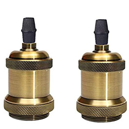 ROHSCE - Casquillo E26 E27 de latón macizo con casquillo de cerámica, soporte para lámpara de techo, 2 Packs