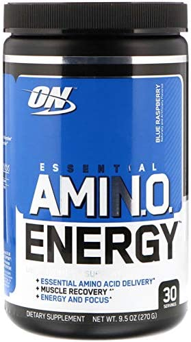 Optimum Nutrition, 2 Pack Essential Amin.O. Energy, Blue Raspberry, 9.5 oz 270 g