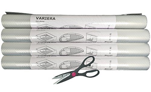 IKEA Variera Shelf Liner Drawer Mat and Multipurpose Scissors, Clear - [4 PACK ROLL + SCISSORS]