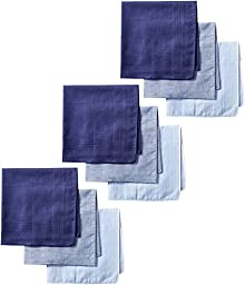 Dockers Men\'s 9 Piece Hankie Gift Set, Blue Assorted, One Size
