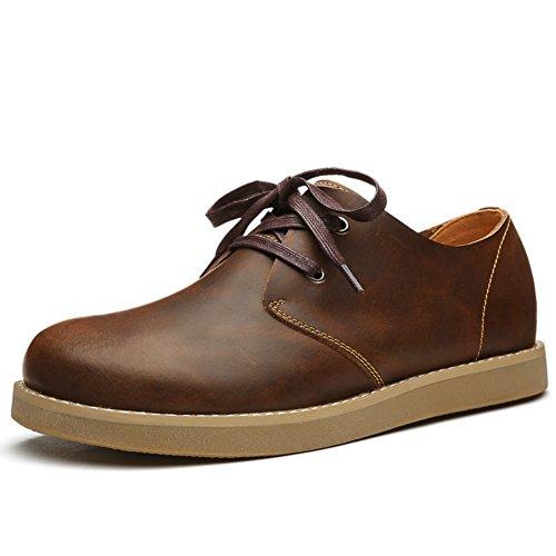 Mens Leder Freizeit Sehnen Schuhe Dress Herbst Business Stiefel Mode Rutschen Schwarzbraun Braun