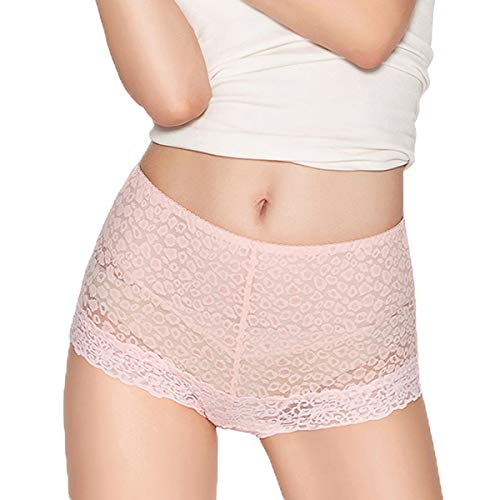 Full Coverage Shaping Panty - Eve's temptation Lily Women's High Waist Lace Panties Underwear Seamless Slimming Full Coverage Brief -Pink X-Large