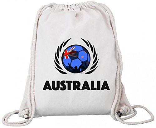 ShirtStreet Australia World Cup Fussball WM Bio Baumwoll Turnbeutel Rucksack Gym Bag Fußball Australien Natural