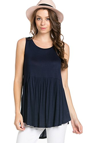 Jersey Baby Doll Dress - My Space Clothing Women's Babydoll Jersey Tank Tunic Top-Made in USA (Medium, Navy)