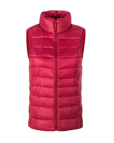 Maniche Gilet Giubbotto Senza di Piumino Giacche Donna Smanicato Rosso Caldo Inverno fwWnCc8qI