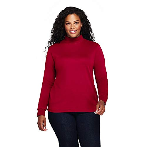 - Lands' End Women's Plus Size Relaxed Cotton Mock Turtleneck, 1X, Rich Red