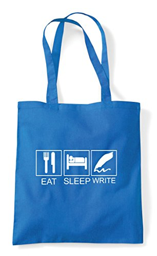 Tote Write Shopper Eat Tiles Sapphire Funny Hobby Bag Sleep Activity 1UwwYqW58