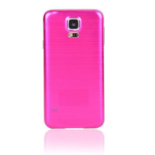 Life Sweetly Hot Pink Brushed Metal Aluminum Replacement Back Cover Housing Battery Door(with White Edge) for Samsung Galaxy S5 i9600