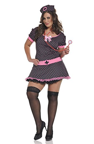 [Mememall Fashion Midnight Medic Nurse Plus Size Costume] (40s Nurse Costume)