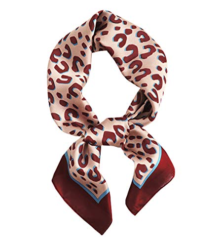 GERINLY Satin Cheetah Neckerchief Silk Bedtime Scarf Handbag Handle Wrap Hat Decoration (Red Wine)
