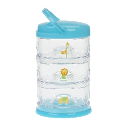 Innobaby Packin' Smart Stackable and Portable Storage System for Formula, Baby Snacks and more. 3 Stackable Cups in Blueberry Sorbet. BPA - Stack Snacks Smart